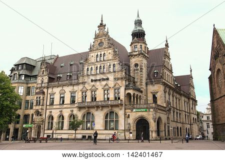 BREMEN, GERMANY - JUNE 1, 2010: View of Bremen old town on June 1, 2010 in Bremen, Germany. The town forms part of the German landmark fairy tale route and is a UNESCO world heritage.