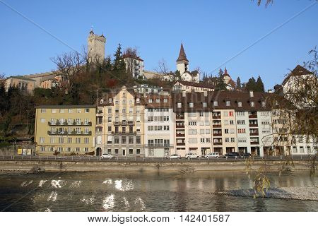 LUZERN, SWITZERLAND - NOV 11, 2015: Luzern cityscape on Nov 11, 2015 in Luzern, Switzerland. Lake Luzern and the historic city centre is a Swiss heritage of national significance.
