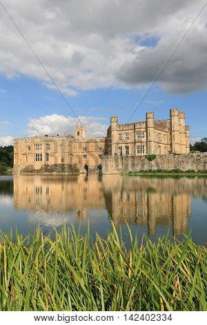 Leeds Castle and lake, landmark near London, UK