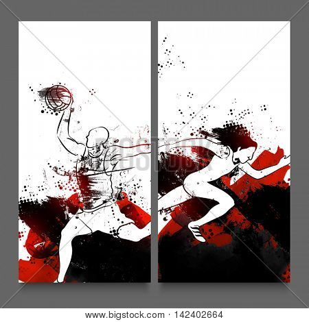 Creative Website Header or Banner set with illustration of Basketball Player and Relay Runner on abstract brush stroke background for Sports concept.
