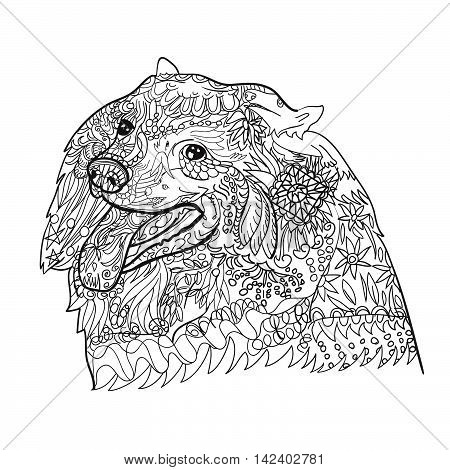 Line art of cute spritz dog with pattern for coloring on white backgroundhand drawn sketch for adult antistress coloring page T-shirt emblem logo tattoo with doodle zentangle floral elements.