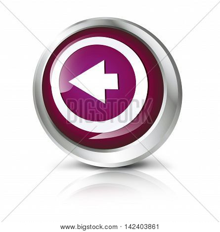 Glossy icon or button with rewind symbol. 3D illustration