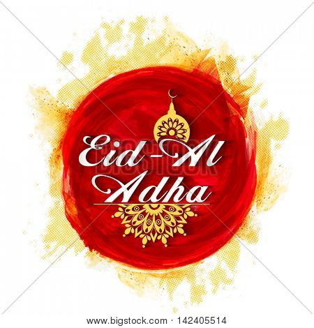 Vector greeting card design with stylish Text Eid-Al-Adha on paint stroke background for Muslim Community, Festival of Sacrifice Celebration.