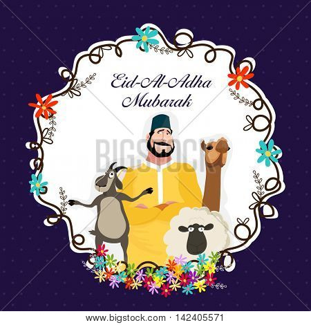 Vector greeting card design with illustration of a Butcher and Animals in a Frame for Muslim Community, Festival of Sacrifice, Eid-Al-Adha Mubarak.