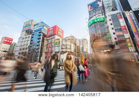 TOKYO - MARCH 28: Street life in Shinjuku March 28, 2016. Shinjuku is a special ward located in Tokyo Metropolis, Japan. It is a major commercial and administrative centre