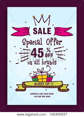 Stylish Sale Flyer, Sale Banner, Sale Poster, Sale Pamphlet, Discount Upto 45% Off on All Brands, Vector Illustration.