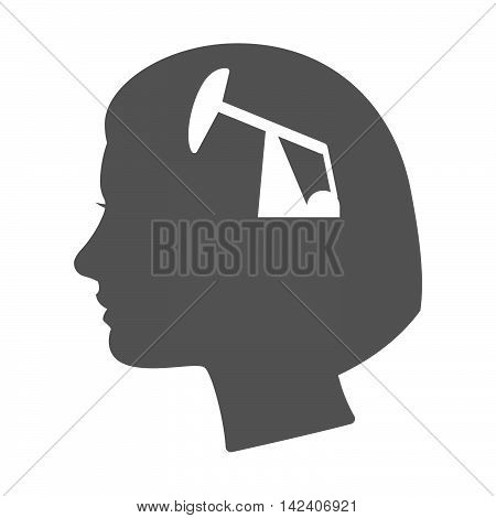 Isolated Female Head Silhouette Icon With A Horsehead Pump