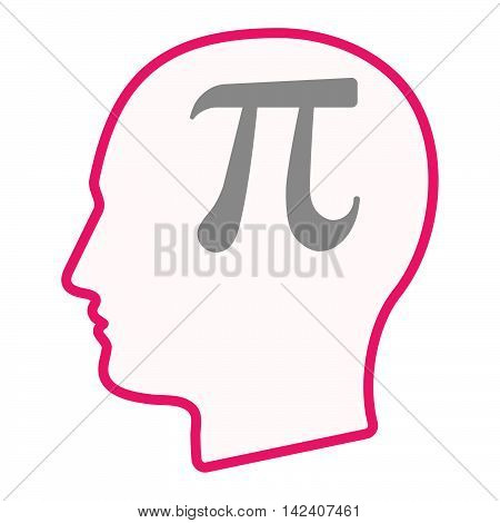 Isolated Male Head Silhouette Icon With The Number Pi Symbol