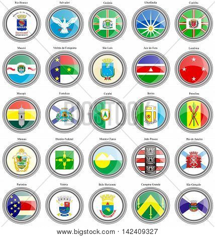 Set Of Icons. Flags Of The Brazilian Cities.