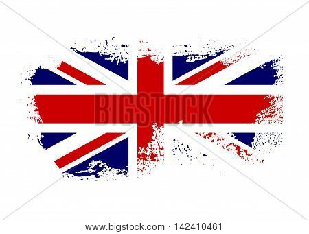 British flag. Grunge old style. Blue red and white national design isolated on white background. Symbol of England Britain United Kingdom. Fashion template typography. Vector illustration
