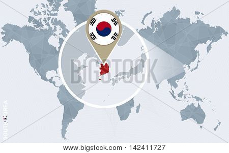 Abstract Blue World Map With Magnified South Korea.