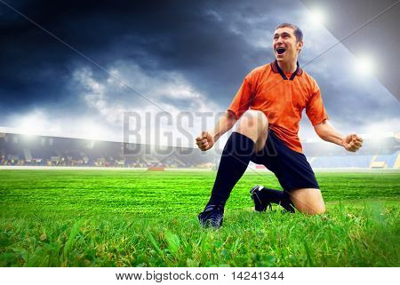 Happiness football player after goal on the field of stadium with blue sky poster