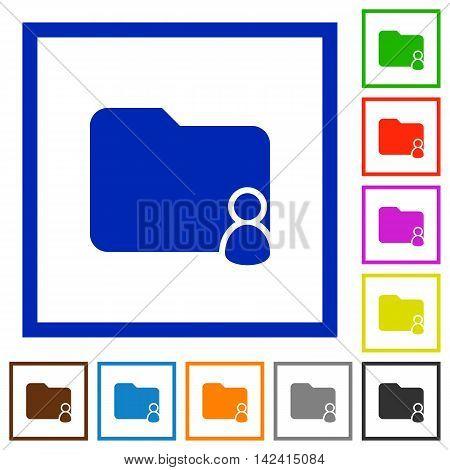 Set of color square framed Folder owner flat icons
