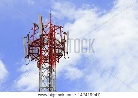 Telecommunication Tower with clear blue sky background
