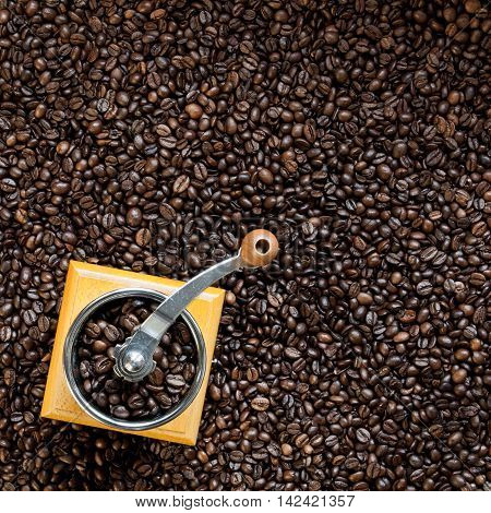 Top view on coffee grinder with coffee beans