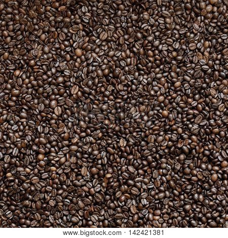 Top view of fresh roasted coffee beans