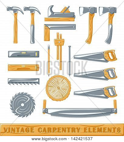 Vintage carpenter elements: axe nail circular saw surface gauge saw level section plane hammer pencil. Set of silhouettes carpenter tools isolated on white background. Vector illustration