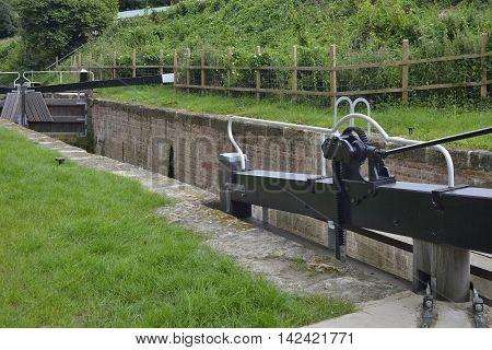 Restored Ham Mill Lock with new gates and paddle gear Thames & Severn Canal Thrupp Stroud Gloucestershire