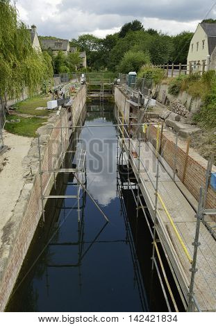 Bowbridge Lock nearing end of restoration Thames & Severn Canal Stroud Gloucestershire