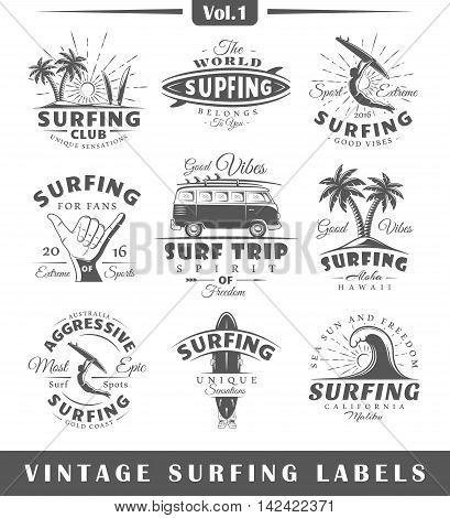 Set of vintage surfing labels. Vol.1. Posters stamps banners and design elements. Vector illustration