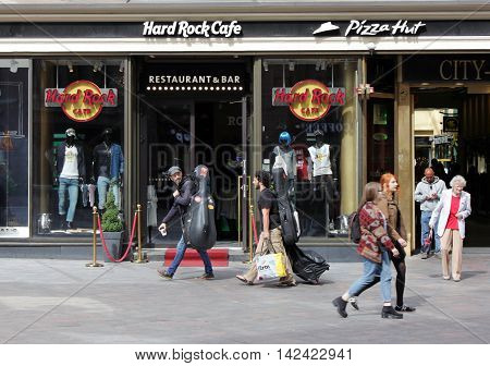HELSINKI FINLAND - AUGUST 10 2016: Hard Rock Cafe Helsinki is located at Aleksanterinkatu street in a popular shopping and dining district near several top tourist destinations August 10 2016.
