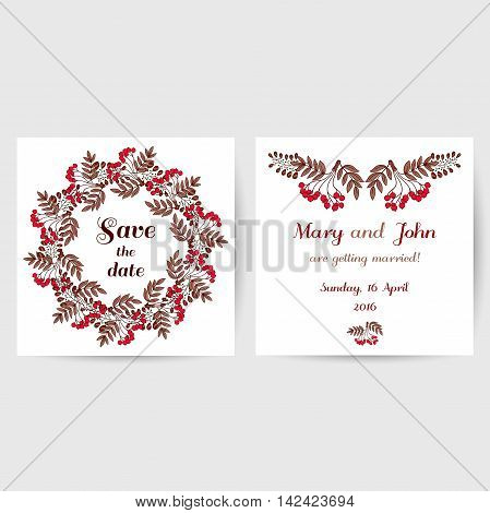 Wedding invitation with hand drawn red berries on white background. Vector illustration.