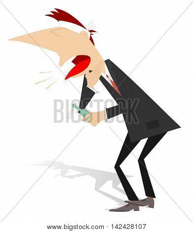 Man caught a cold. Headache, cough and sore throat