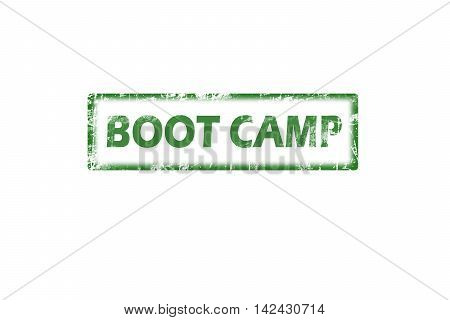Rubber stamp with text boot camp inside, grunge green stamp