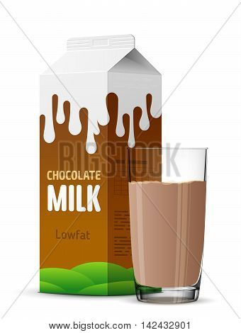 Glass of chocolate milk with gable top package close up. Cow cocoa milk carton and milk cup isolated on white. Vector image for milk, food service, dairy, beverages, gastronomy, health food, etc