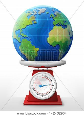 Earth planet on scale pan. Weighing globe with ocean and continents on scales. Vector image for travel, planet Earth, geography, tourism, world map, trip, cartography, etc
