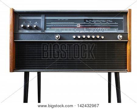 Black grungy retro radio isolated on white background