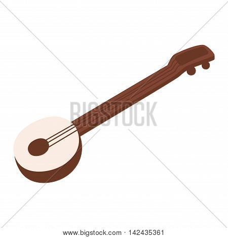 Banjo acoustic guitar orchestra and folk instruments vector illustrations. Western wood banjo guitar folk isolated acoustic instrument. Musical sound instrument banjo guitar resonator object.