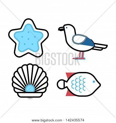Set of marine sea icons and nautical decorations isolated. Collection of marine sea icons elements company logos, business identity vector illustration. Marine sea icons ocean anchor travel symbol.
