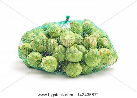 brussel cabbage bag net isolated on white