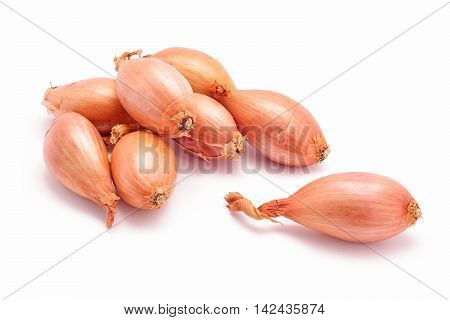 fresh organic shallot onions isolated on white