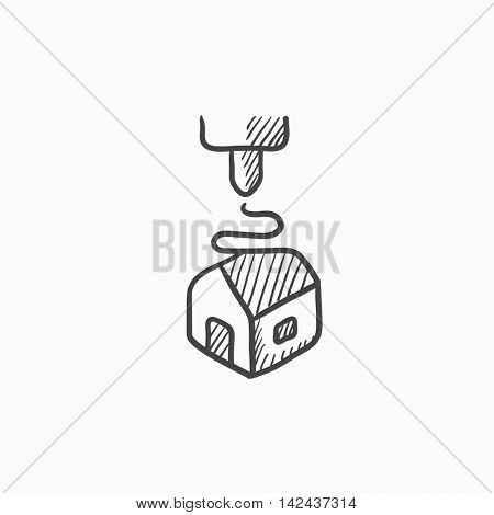 Tree D printing vector sketch icon isolated on background. Hand drawn Tree D printing icon. Tree D printing sketch icon for infographic, website or app.