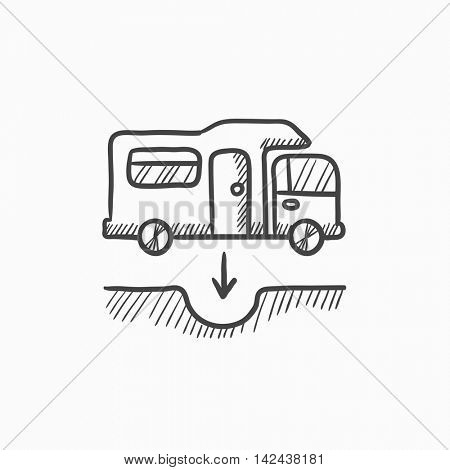 Motorhome and sump vector sketch icon isolated on background. Hand drawn Motorhome and sump icon. Motorhome and sump sketch icon for infographic, website or app.