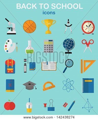 Back to school. School, education, study, learning, full color vector icons.