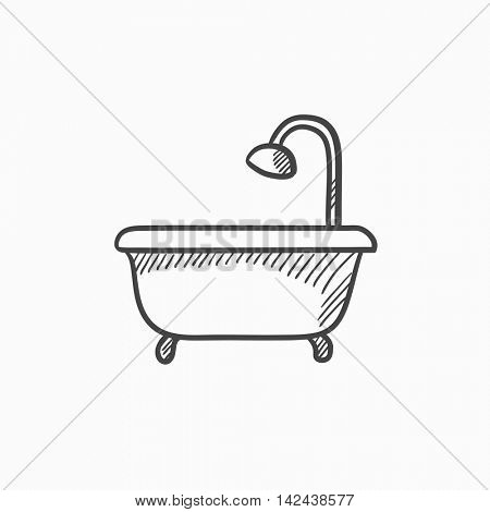 Bathtub with shower vector sketch icon isolated on background. Hand drawn Bathtub with shower icon. Bathtub with shower sketch icon for infographic, website or app.