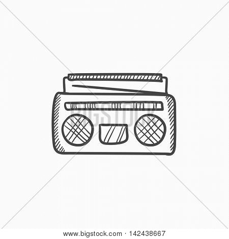 Radio cassette player vector sketch icon isolated on background. Hand drawn Radio cassette player icon. Radio cassette player sketch icon for infographic, website or app.