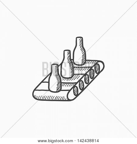 Conveyor belt system vector sketch icon isolated on background. Hand drawn Conveyor belt system icon. Conveyor belt system sketch icon for infographic, website or app.