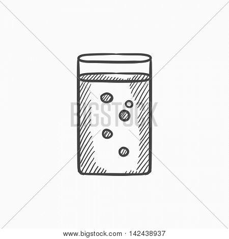 Glass of water vector sketch icon isolated on background. Hand drawn Glass of water icon. Glass of water sketch icon for infographic, website or app.