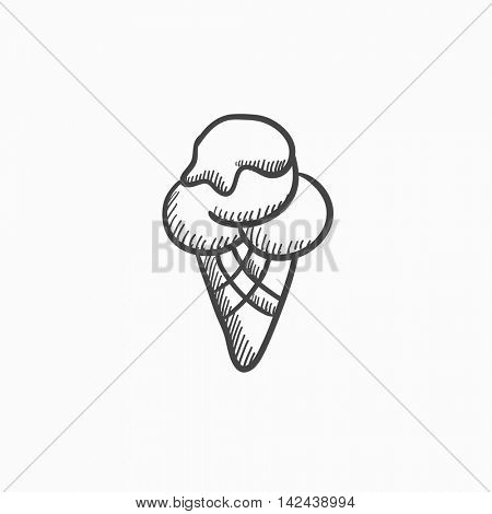 Ice cream vector sketch icon isolated on background. Hand drawn Ice cream icon. Ice cream sketch icon for infographic, website or app.