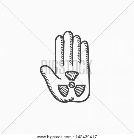 Ionizing radiation sign on palm vector sketch icon isolated on background. Hand drawn Ionizing radiation sign on palm icon. Ionizing radiation sign on palm sketch icon for infographic, website or app.