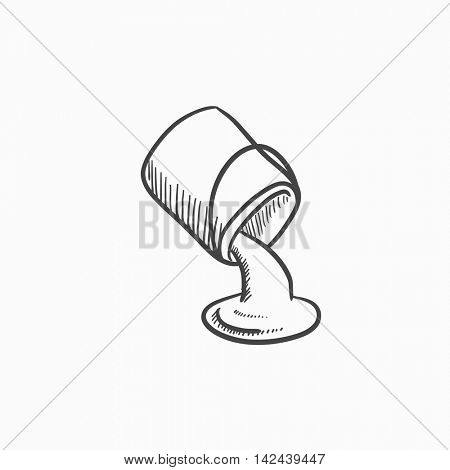 Paint pouring from bucket vector sketch icon isolated on background. Hand drawn Paint pouring from bucket icon. Paint pouring from bucket sketch icon for infographic, website or app.