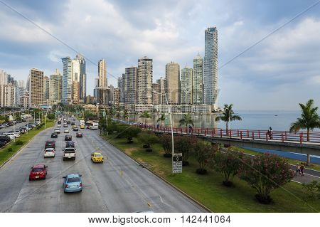 Panama City Panama - March 18 2014: View of the financial district and sea in Panama City Panama.