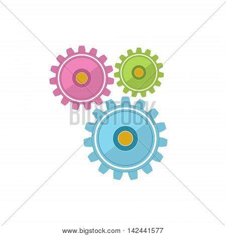 Gears Isolated on White Background, Teamwork, Joint Effort ,Team Effort ,Vector Illustration