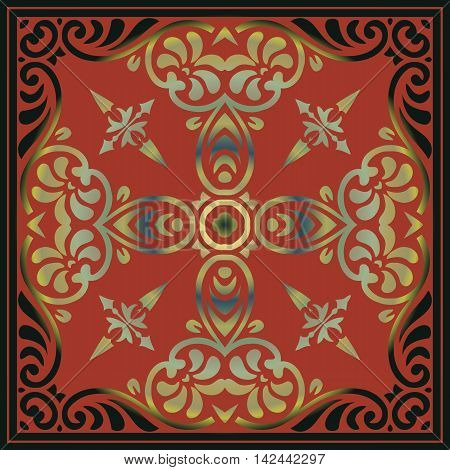 vector design elements Abstract gold decor with a pattern of interwoven lines of red color in a square frame