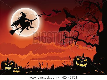 Halloween scene with evil pumpkins, bats, and a wicked witch flying by the moon on her broomstick.