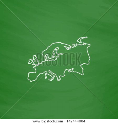Eurasia Outline vector icon. Imitation draw with white chalk on green chalkboard. Flat Pictogram and School board background. Illustration symbol